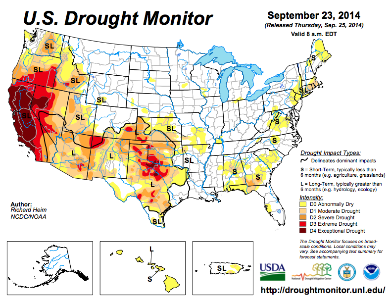 US drought map